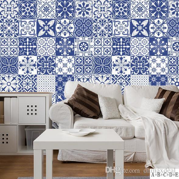 Mediterranean Style Waterproof Retro Self Adhesive Flower Vine Tile