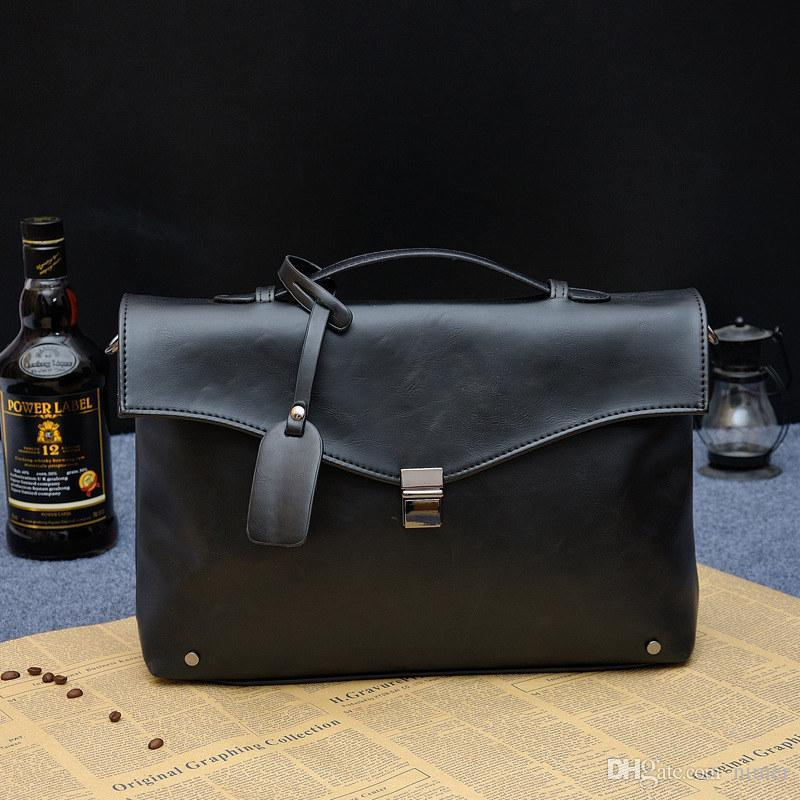 a52c819a021 Wholesale-PACGOTH Man Bag Leather Male Hight Quality Business Handbag Man  Fashion Daily Messager Bag Men s Soild Color Casual Briefcase Briefcase  Business ...