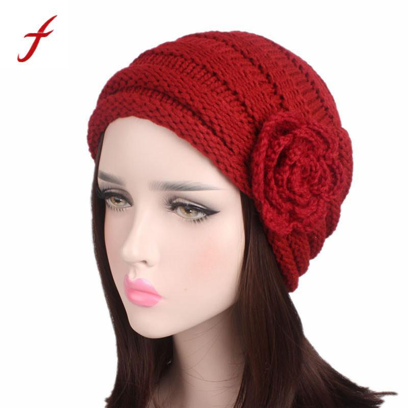 16f0d711d28 2017 Fashion Hat For Women Knitted Hats For Girls Skullies Beanies Warm  Autumn Winter Knitted Hats With Floral Turban Cap Crochet Baby Hats Ladies  Hats From ...