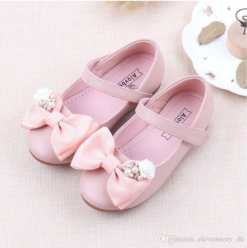 3d6e10967b9c5 Acheter 1 À 8 Ans Bébé Filles Automne Perles Fleurs Arc Chaussures ...