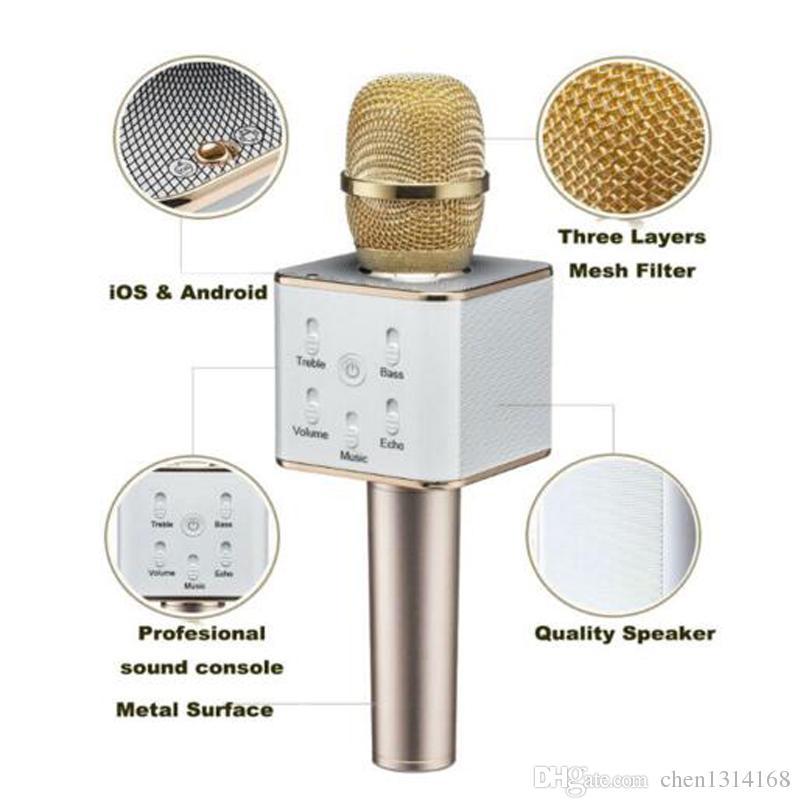 Q7 Bluetooth Mikrofon Taşınabilir El Kablosuz KTV Karaoke Player Hoparlör MIC Hoparlör Ile iPhone 7 Artı Samsung S7 Kenar 770028
