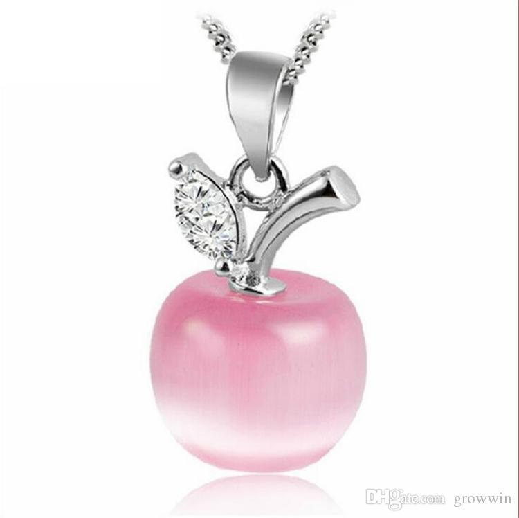 New Cute Crystal And Opal White Pink Apple Pendant Necklace For Women And Girls Fashion Apple Shape Jewelry No Chain D0339New Cute Crystal H
