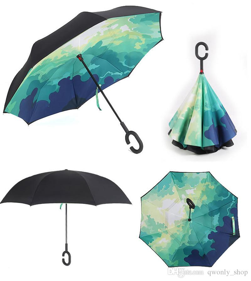 High Quality Windproof Reverse Folding Double Layer Inverted Umbrella Self Stand Inside Out Rain Protection C-Hook Hands