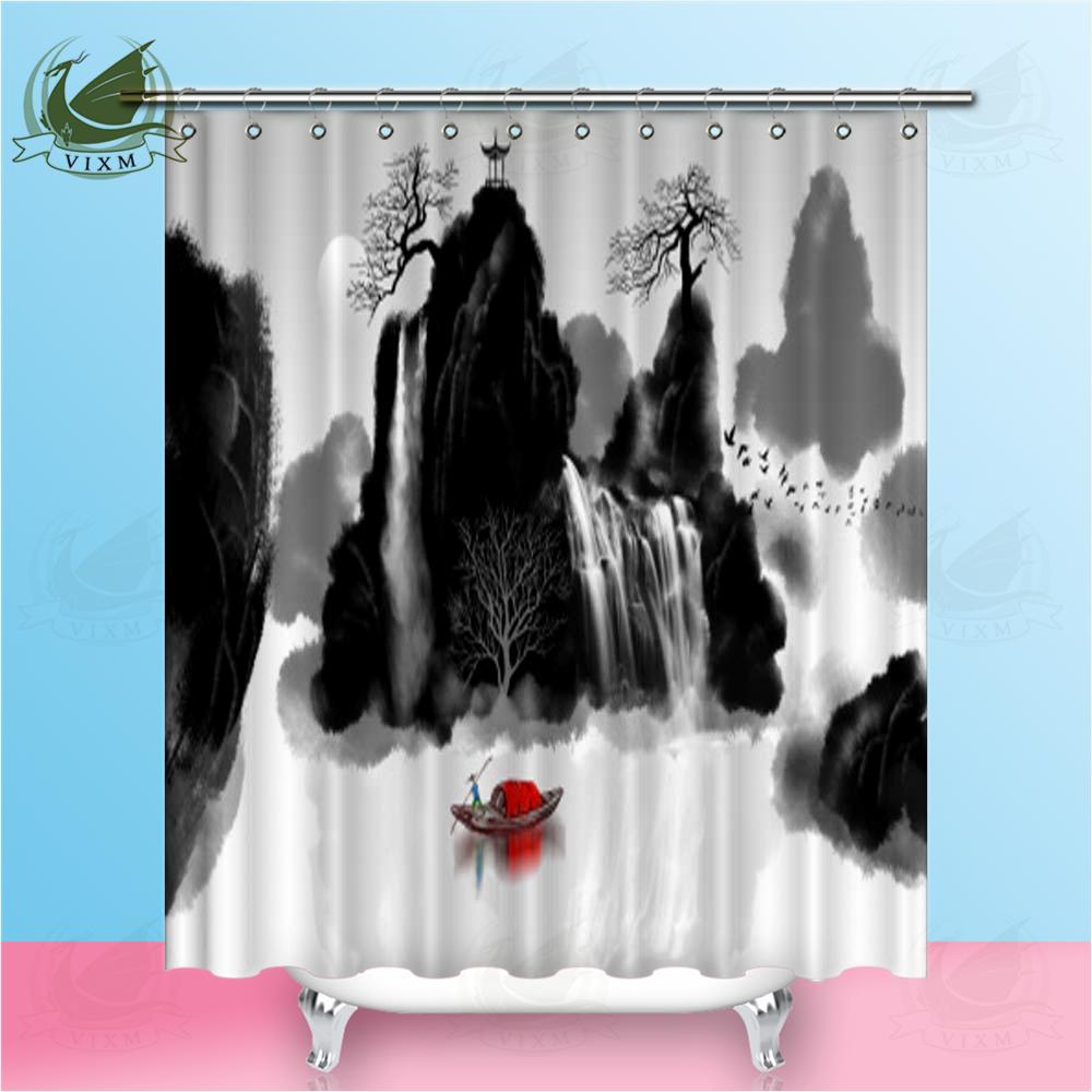 2019 Vixm Japanese Style Traditional Ink Landscape Painting Shower Curtains Polyester Fabric For Home Decor From Bestory 1665