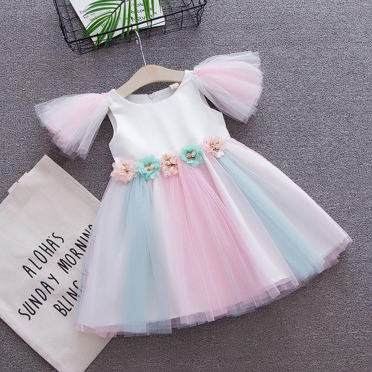 Baby Rainbow dress 2018 Summer Princess fairy Tulle dress kids sleeveless flower mesh lace girls Dresses Boutique Clothing