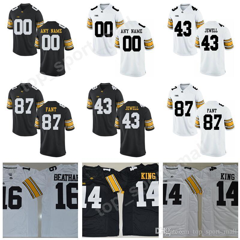 online store 4228e 577da Make Custom Personalized 87 Noah Fant Jersey 16 Kyshaun Bryan 43 Josey  Jewell Black White College Football Iowa Hawkeyes Jerseys Men Sale