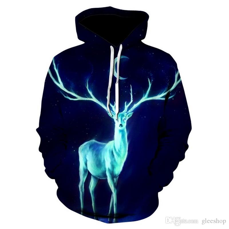 2018 New Fashion 3D Men/women Hooded Hoodies With Hat Print Painted Ice Fire Wolf 3d Sweatshirts