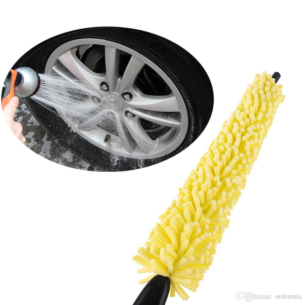 1 قطع جديد حار بيع سيارة عجلة فرشاة العملي الأسود البلاستيك مقبض الأصفر الإسفنج عجلة الاطارات حافة فرشاة للسيارة