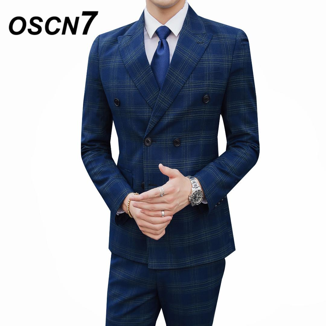 5cc6a64ea0b4 2019 OSCN7 Double Breasted Mens Suit Party Wedding Dress Suits For Men Plus  Size Casual Terno Masculino 6027 From Yujiu, $148.59 | DHgate.Com