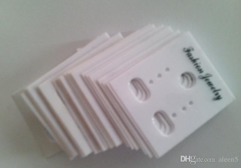 Atacado 3000 pçs / lote 3.5 * 3 cm Branco Plástico PVC moda Jóias Brincos Do Parafuso Mostrar Cartão de Embalagem de Suspensão Tags Pode tamanho Personalizado