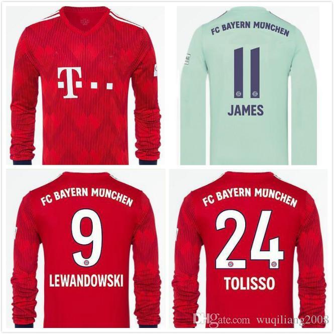 a0487a1340 El Más Nuevo 18 19 Bayern Munich Visitante Camisetas De Fútbol De Manga  Larga NEUER Portero De Casa JAMES ROBBEN LEWANDOWSKI 2018 2019 CAMISETAS DE  FÚTBOL ...