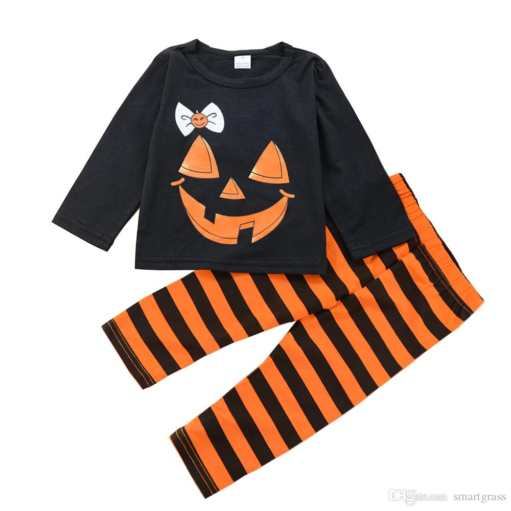 59d202553582d Halloween Costumes Set for Girls Long Sleeve Crew Neck Tops and Striped  Pumpkin Color Pants 2 Pieces Clothing Sets for Baby Girl 18090302