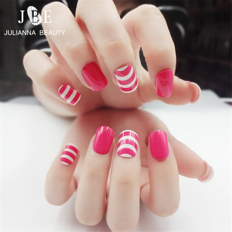 Gel Tips Pink Stripe Fake S French False Nails Beautiful UV Gel Nail ...