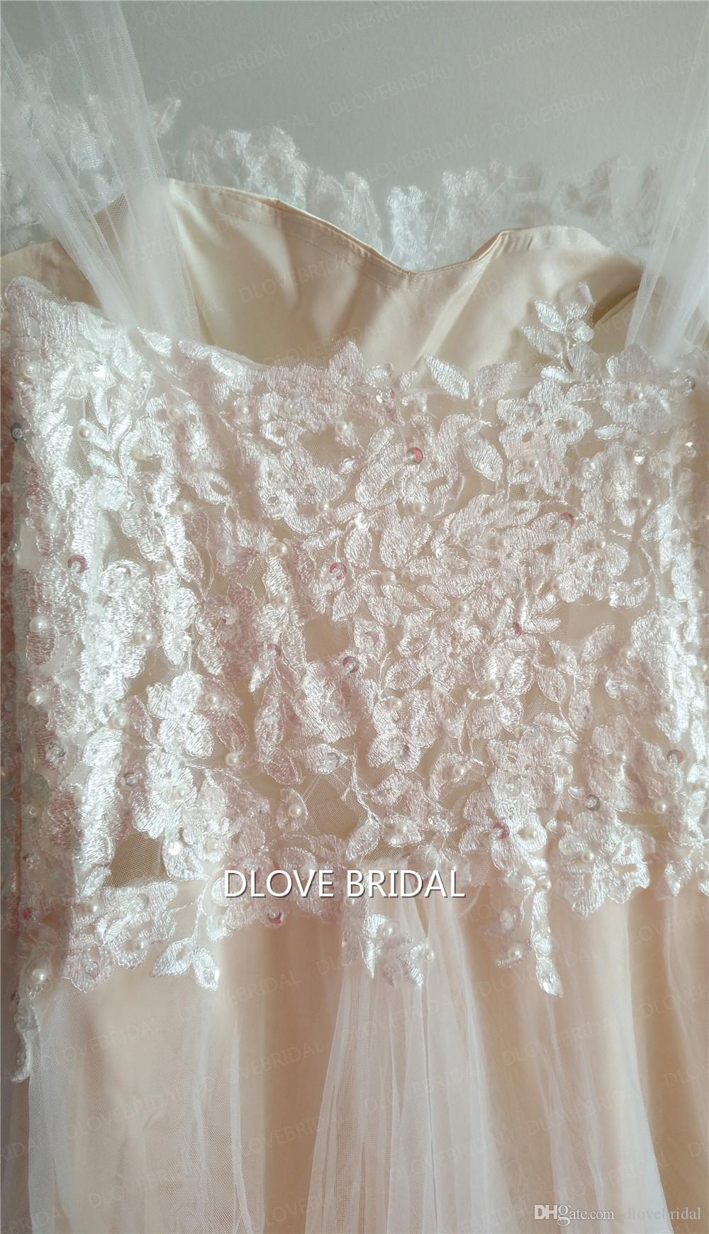 Real Images Illusion Lace Wedding Dress Boho Lace Tulle Pearl Beaded Bridal Gown Low Price but High Quality Vestido de Noiva