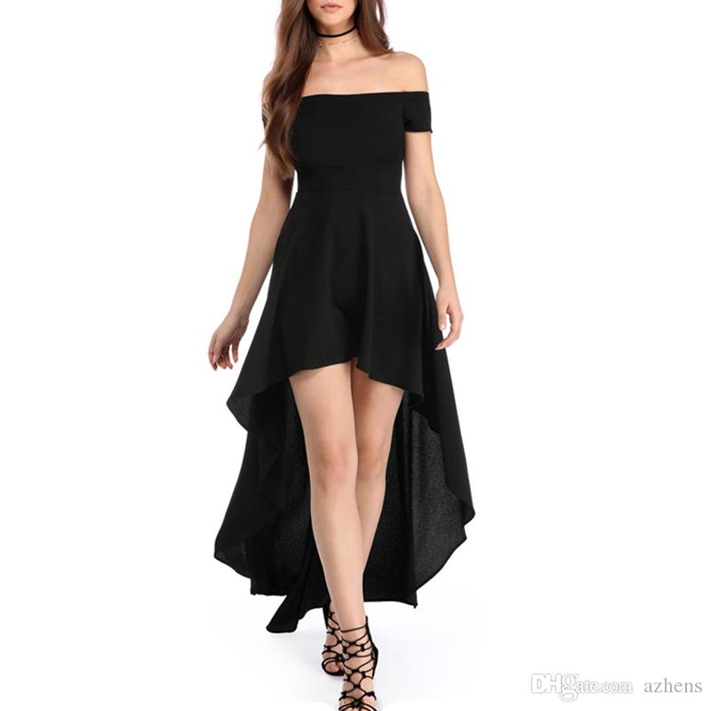 2019 2018 Summer Women Off The Shoulder Dress Sexy Short Sleeve High Low  Hem Club Cocktail Party Evening Skater Dresses From Azhens db3e75b14