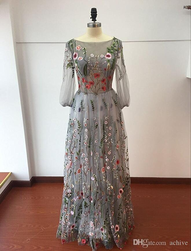 Modern Long Sleeves Prom Dresses 2018 Trendy Floral Embroidery A-line Sheer Evening Dresses Formal Party Gowns Cheap Pageant Dress China