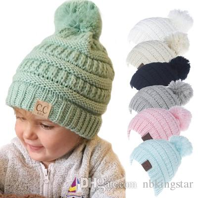 dbd291a01c1d Acheter Cc Bonnet Enfants Pom Pom Chapeaux Chaud Filles Garçons Tricot Chapeau  D hiver Enfants Coton Tricot Casquettes Skullies Bonnets Laine Bonnet  Crochet ...