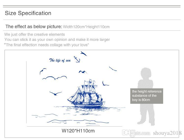 Envío gratis barco de vela faro aves etiqueta de la pared vinilo DIY arte mural para sala de estar decoración adesivo de parede