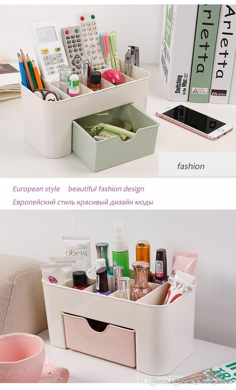 Bathroom Makeup Organizer Cosmetic Storage Box Desk For Cosmetics Drawer Earrings Plastic Organizador