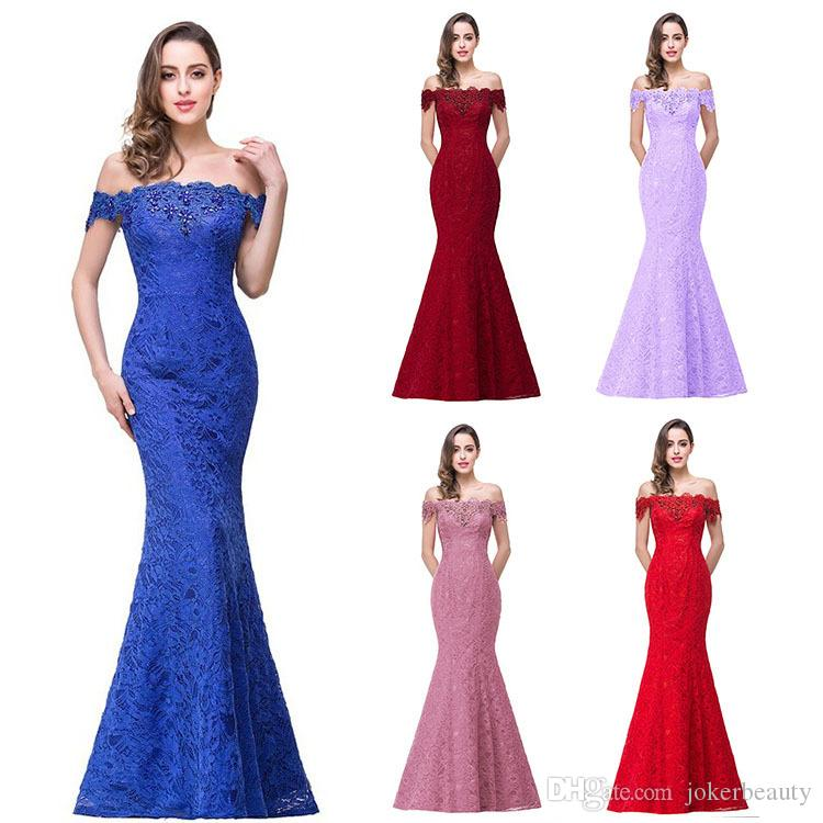 Free Shiping DHL Epack Elegant Crystal Beaded Red Royal Blue Lace Mermaid Long Evening Dresses 2017 Prom Party Dress Robe De Soiree Longue