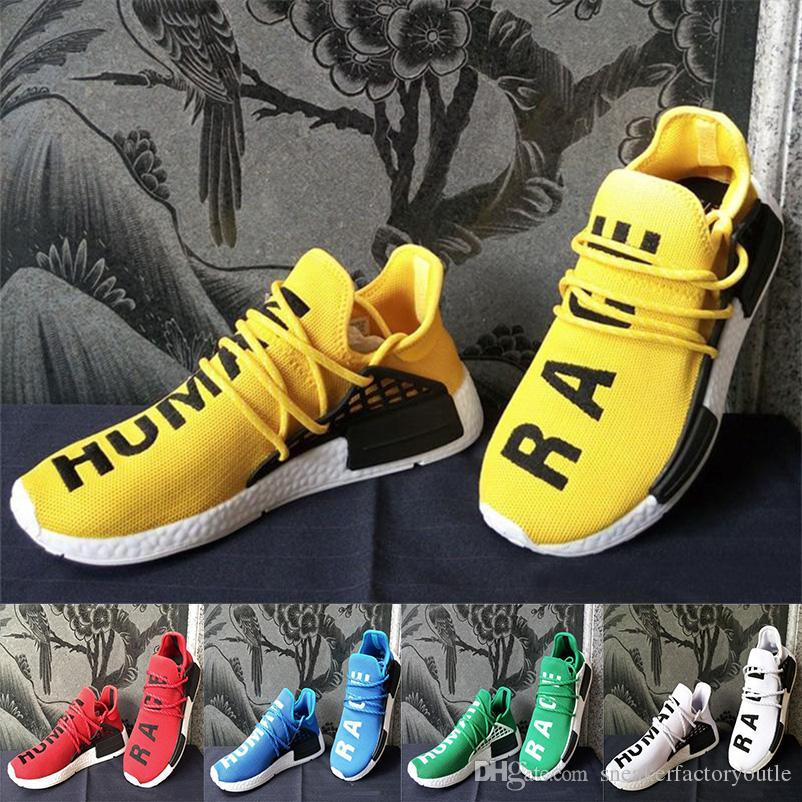a4ad392efe6cf 2018 Best Sale NMD Runner Human Race Factory Real Yellow Red Black Men And  Women Pharrell Williams X Running Shoes Sneakers Size 36 45 Best Running  Shoes ...
