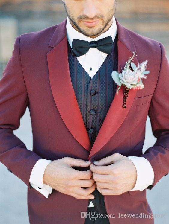 2018 Custom Made Burgundy Wedding Suits For Men Suits Best Man 2 Piece Skinny Blazer Groom Prom Tailored Tuxedo Terno Masculino Jacket+Pant