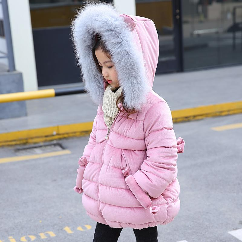 2018 Кролик уха зимние куртки для девочек одежда Детская одежда толстый меховой воротник с капюшоном пальто девушки зимние пальто и куртки