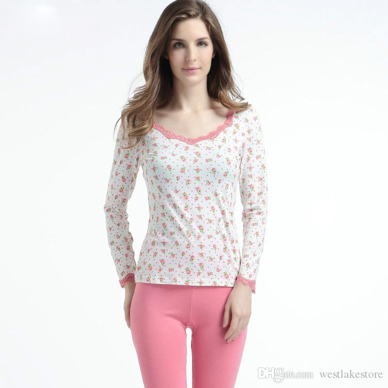 5f01e855fe6b New Women  s Thermal Underwear Lace Modal Flowers Printing Slim Body ...