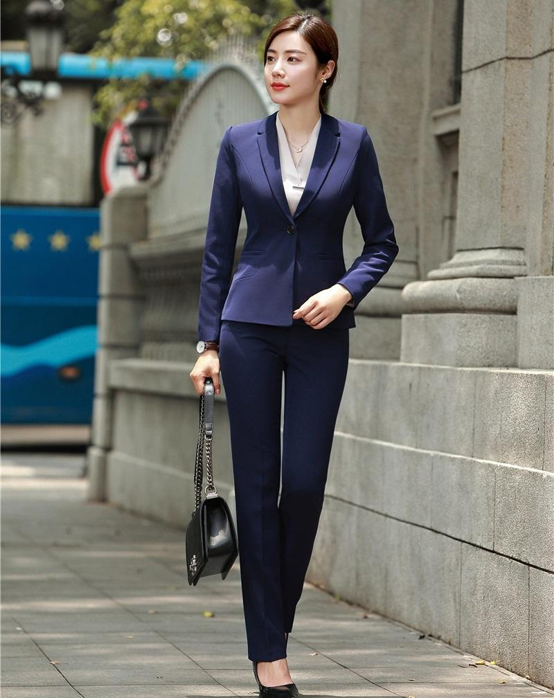 2019 Formal Navy Blue Blazer Women Business Suits With Pant And