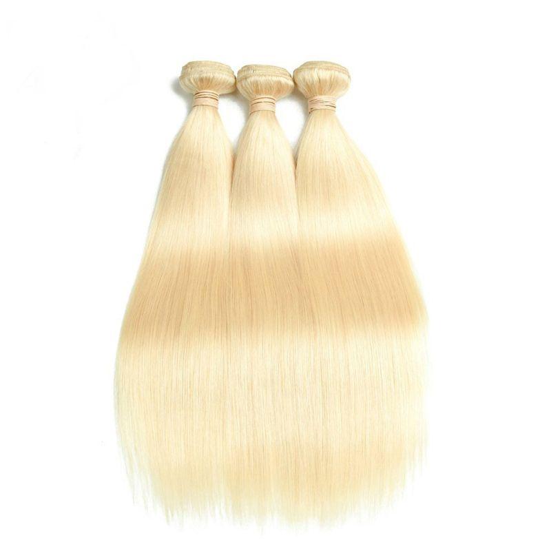 9A Günstige Bleach Blonde Frontal Closure und Bundles 613 Blonde Indische Gerade Virgin Human Hair spinnt Extensions mit Full Lace Frontals