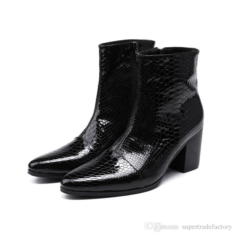 395af22b Compre Italia Hombre Piel De Serpiente Charol Negro Botas Hombre Tobillo  Botas Militares Punk Zapatos Chelsea Botas Hombres Motocicleta A $105.53  Del ...