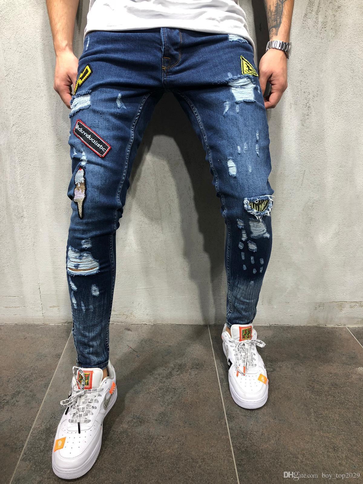 187d6007b ¡CALIENTE! 2018 Pantalones Vaqueros de Colorblock plisado para hombres de  Jeans Slim con precio de venta completo, el mejor envío gratuito