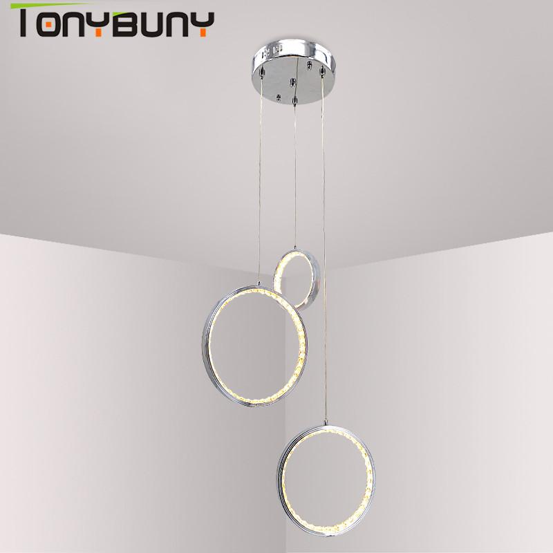 Living Room 3 Rings Modern Chrome Pendant Lamp Light LED Hall Crystal  Chandelier Pendent Lights Kitchen Indoor Led Light Modern Pendant Lighting  Hanging ...