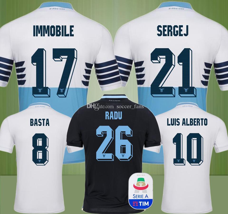 New 18 19 IMMOBILE SERGEJ RADU Lazio Soccer Jersey LUCAS F.ANDERSON ... 41a9fb1fc
