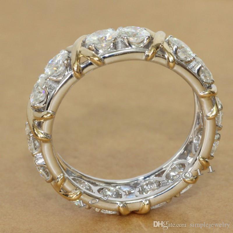 choucong Eternity Jewelry Stone Diamond 10KT White&Yellow Gold Filled Women Engagement Wedding Band Ring Sz 5-11