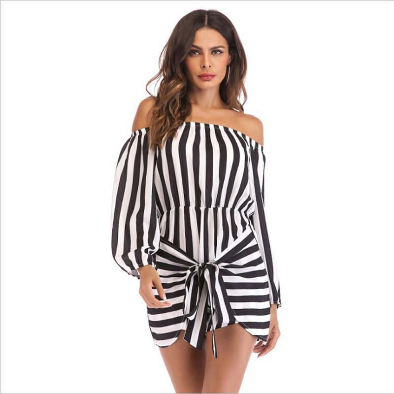 Acheter 2018 Mode Femmes Rayé Casual Combishort Mousseline De Soie Hors  Épaule Combinaison Plage Été Vacances Shorts Combi Short Mini Robe De   22.71 Du ... 1d18ae00d0e