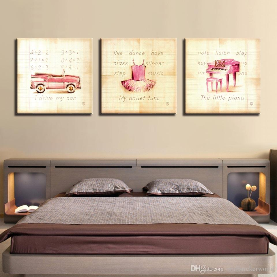 Canvas HD Print Poster Wall Art Framework Pink Princess Skirt Painting Cute Piano And Car Pictures Kids Room Home Decor
