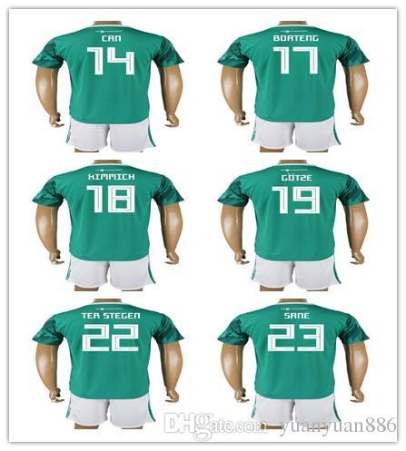 36a60465b9f 2018 World Cup Soccer Jersey Men Germany   14 CAN 17 BOATENG 18 KIMMICH 19  GOTZE 22 TER STEGEN 23 SANE Soccer Jerseys Shirt+Short Kits Soccer Jersey  High ...