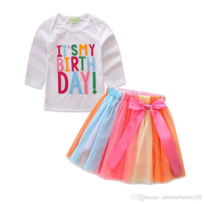 Çocuklar Doğum Günü Pastası T gömlek + Gökkuşağı ilmek Etekler Uzun Kollu Kısa Kollu ayarlar 2adet Kız bebekler Harf INS Bebek Karikatür Setleri Takımları