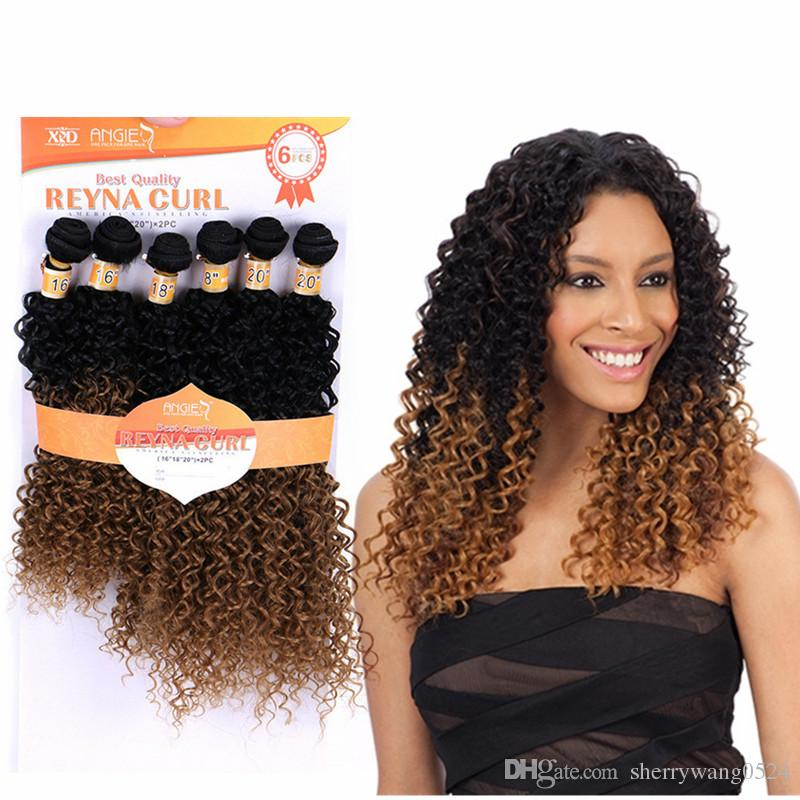Wholesale Long Natural Curly Synthetic Extensions Sew In Hair Weave