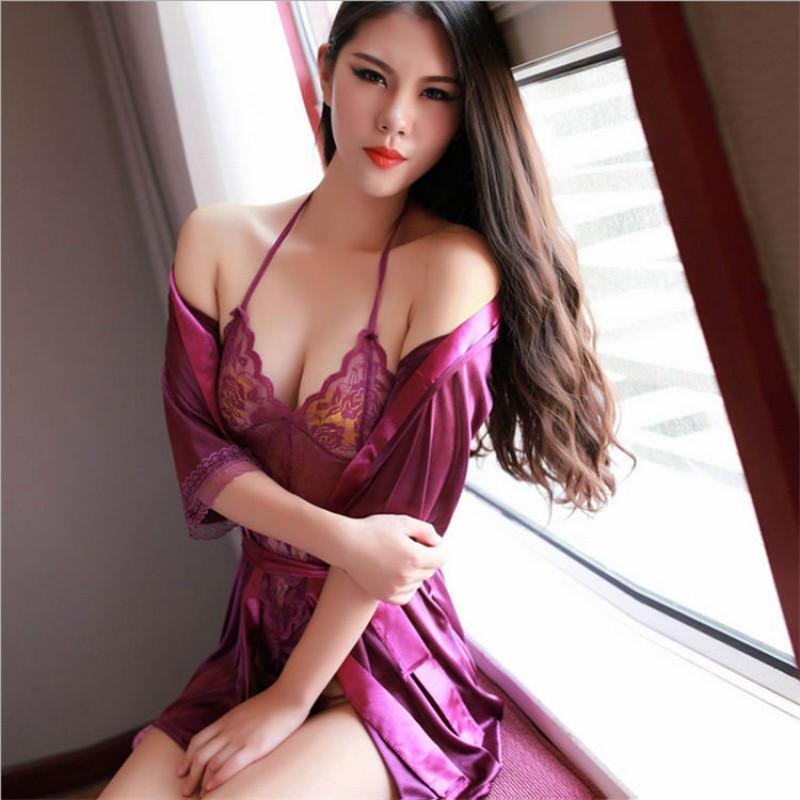Seksi Kadın Lingerie Babydoll Iç Çamaşırı Pijama Siyam Gecelikler G-string Dantel Elbise y26