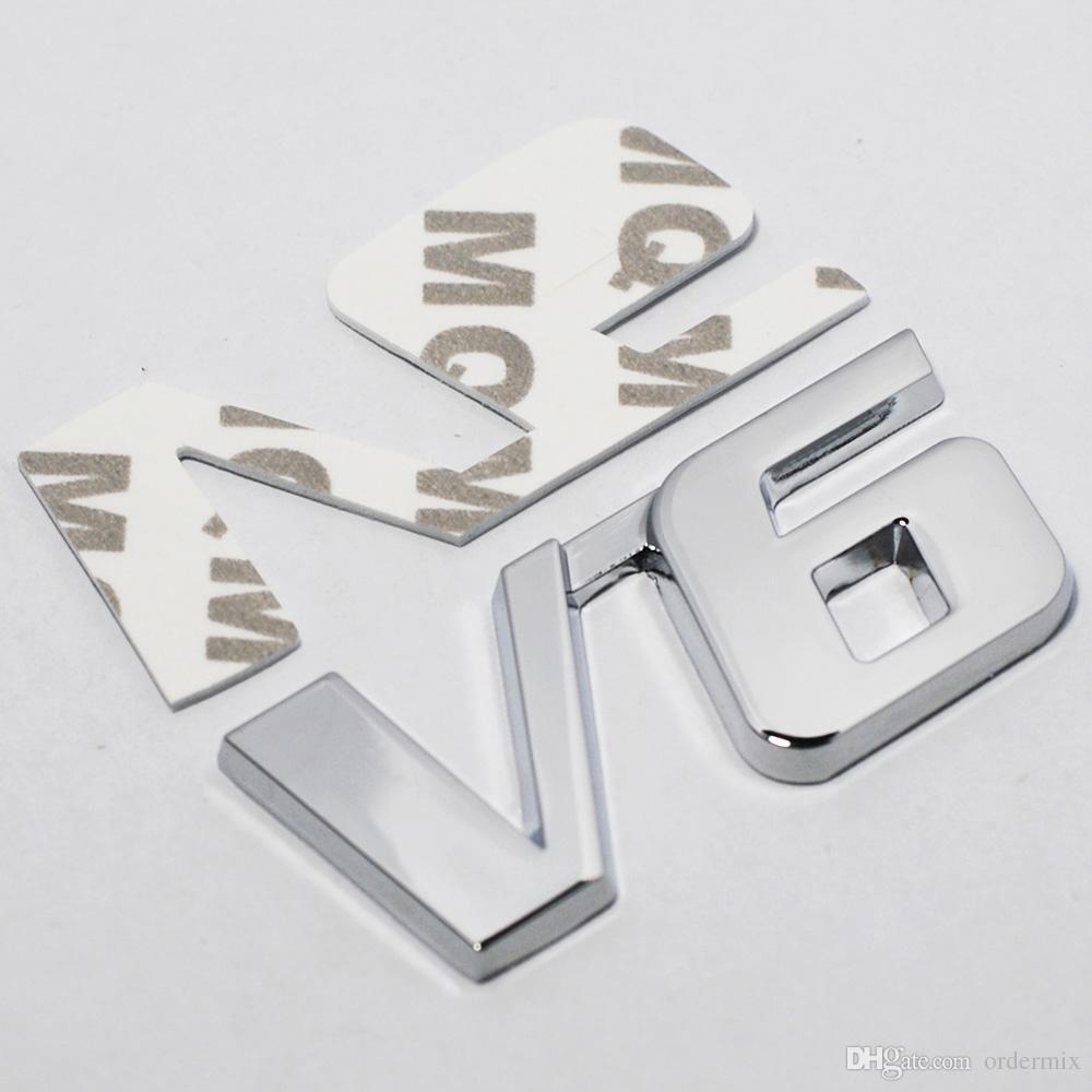 Car Chrome Metal V6 Emblem Badge 3D Decal Trunk Auto Motor Sticker Car Styling Sticker for Ford Fiesta Kuga Ranger Galaxy Fusion
