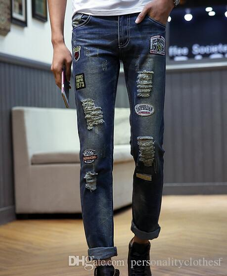 2018 spring/summer new hole jeans men locomotive patches patches badges washed cats must fray distressed korean fashion pants Scratch