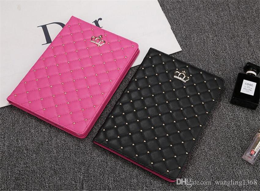 Para iPad Air 2 cubierta de la caja de cuero Crown Diamond para iPad mini 4 3 2 1 funda de la tableta Soporte de cuero suave casos inteligentes para iPad Pro 10.5