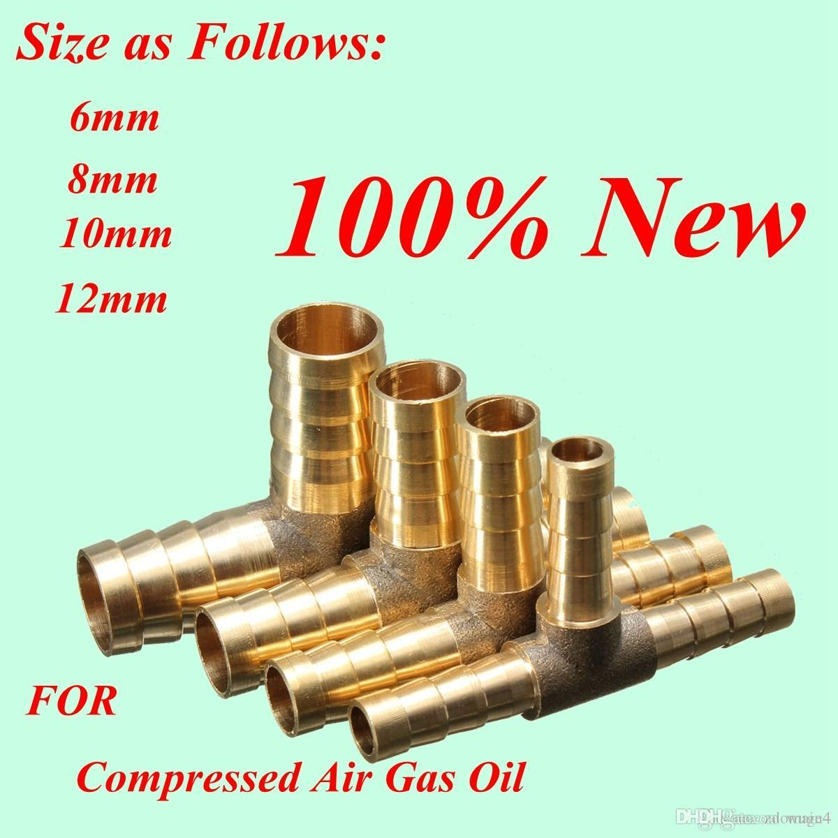 High Quality Brass T Piece 3 Way Fuel Hose Joiner Connector for Compressed  Air Oil Gas Pipe