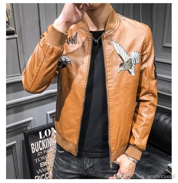 2019 Mens Fashion Biker Jackets Coats Man Faux Leather Punk Jackets
