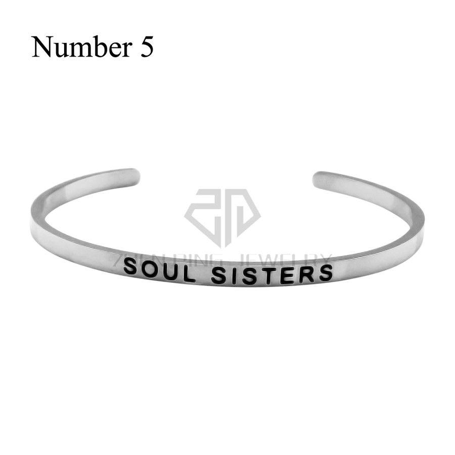 Silber stapelbar 316l Edelstahl graviert Armband positiv inspirierend offen gestempelt Manschette Armreif für Frauen beste Geschenke