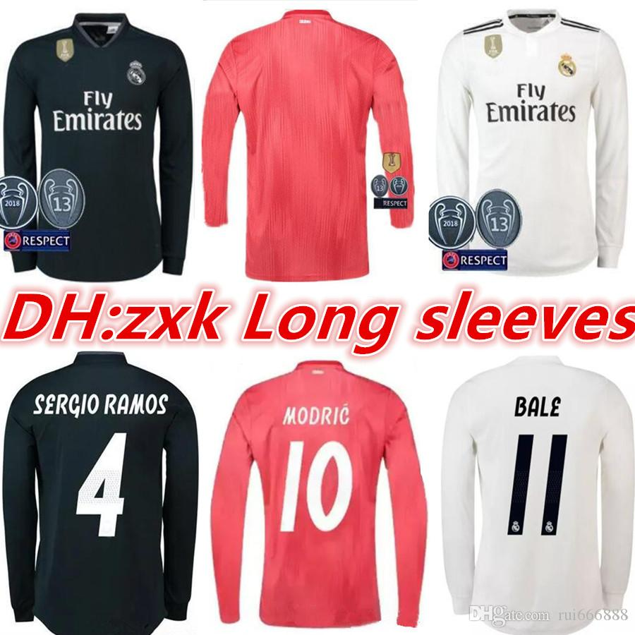 fd75d7a83a6 2019 Real Madrid Long Full Sleeve Home Soccer Jersey 18 19 Real Madrid Away  Soccer Shirt  11 BALE  22 ISCO Third Red Football Uniforms From Rui666888