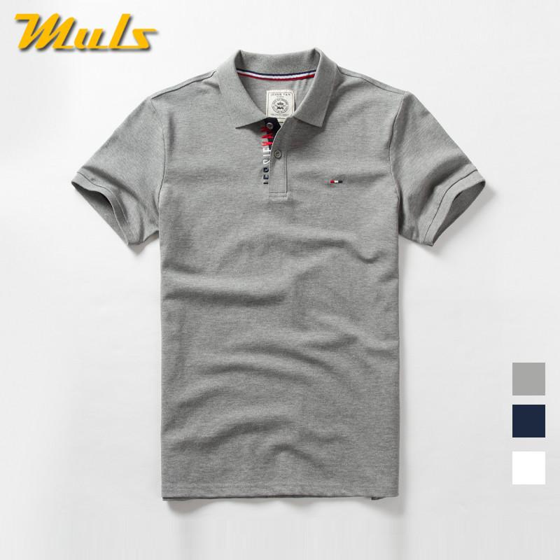 Muls Brand Mens Summer Basic Style Short Cotton Spandex Male Tees Top High Quality Cool Clothing Man Navy Gray White