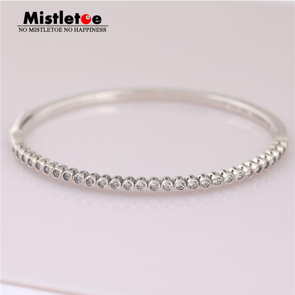 Mistletoe Authentic 925 Sterling Silver Timeless Elegance Bangle, Clear CZ  Bracelet Fit European Jewelry